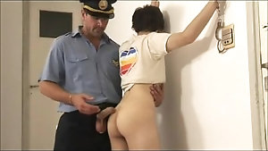 Naughty twink arrested and fucked hard by raunchy police officer